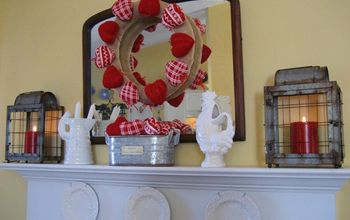 my farmhouse valentine mantel, fireplaces mantels, seasonal holiday d cor, valentines day ideas