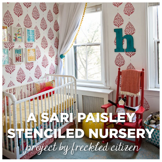 a sari paisley stenciled nursery, bedroom ideas, painting, wall decor