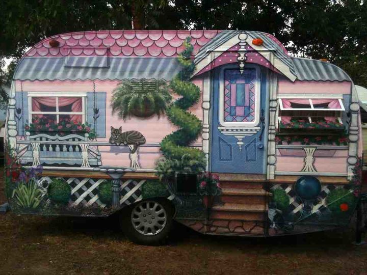 happy camper i painted, curb appeal, diy, painting, I designed and painted it to imply a Victorian painted lady complete with gazing ball porch swing flowers and two pretty kitties