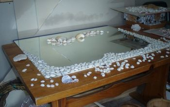 bathroom mirror redo, crafts, The 1st layer of shells were glued heavily to create a solid base