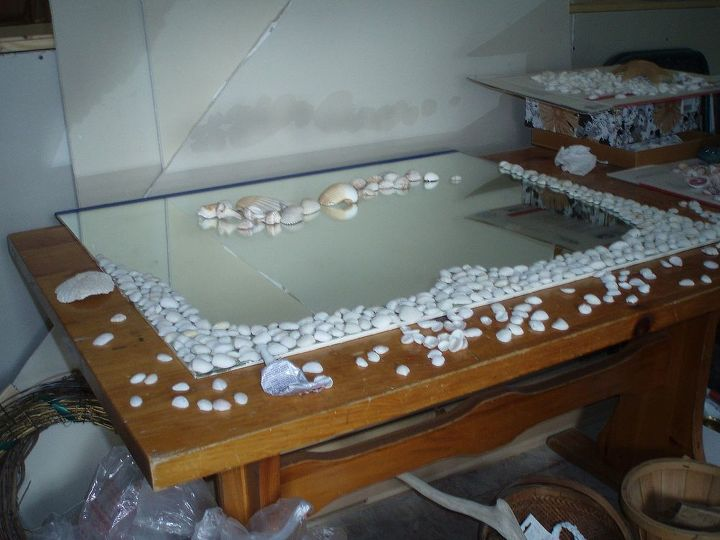 The 1st layer of shells were glued heavily to create a solid base