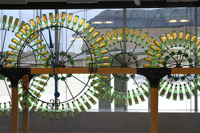 This beer bottle clock is on display at the Philadelphia International Airport. Photo: waitscm/Flickr