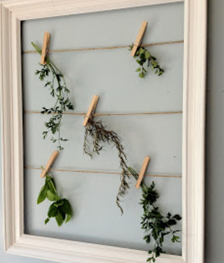 Hang herbs to dry.