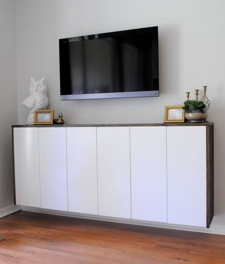 diy floating credenza fauxdenza as custom media cabinet, kitchen cabinets, painted furniture