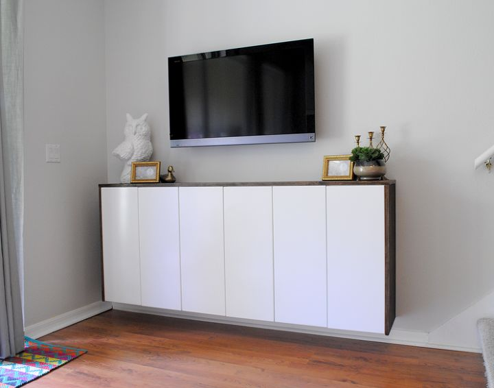 Diy Floating Credenza Fauxdenza As Custom Media Cabinet Kitchen Cabinets Painted Furniture