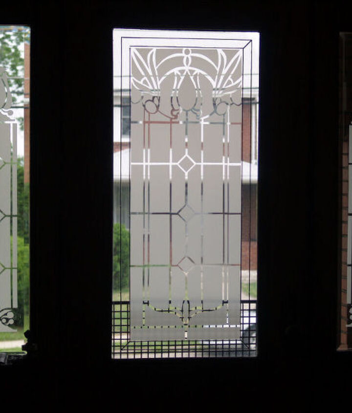 faux etched glass, doors