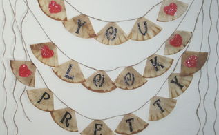 banner with recycled coffee filters, crafts, home decor, repurposing upcycling