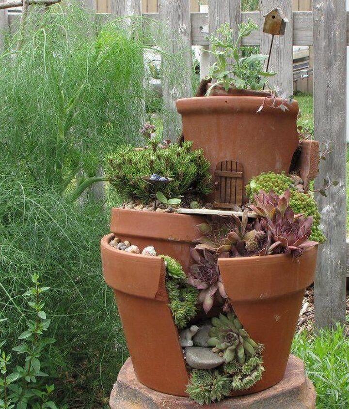 recycling broken pottery, gardening