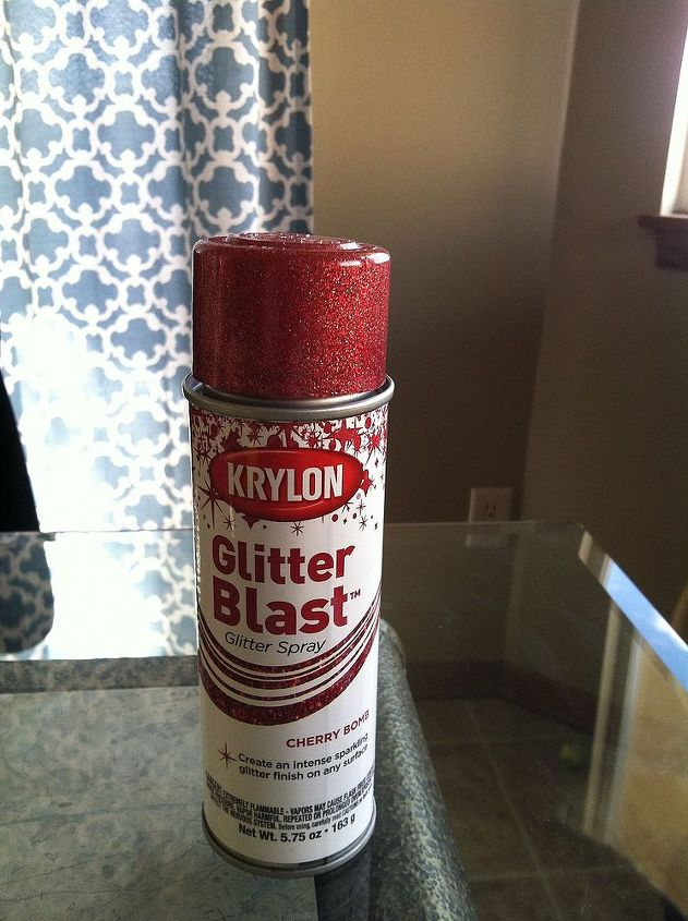 After the letters were all taped off I sprayed them with Krylon Glitter Blast in Cherry Bomb.