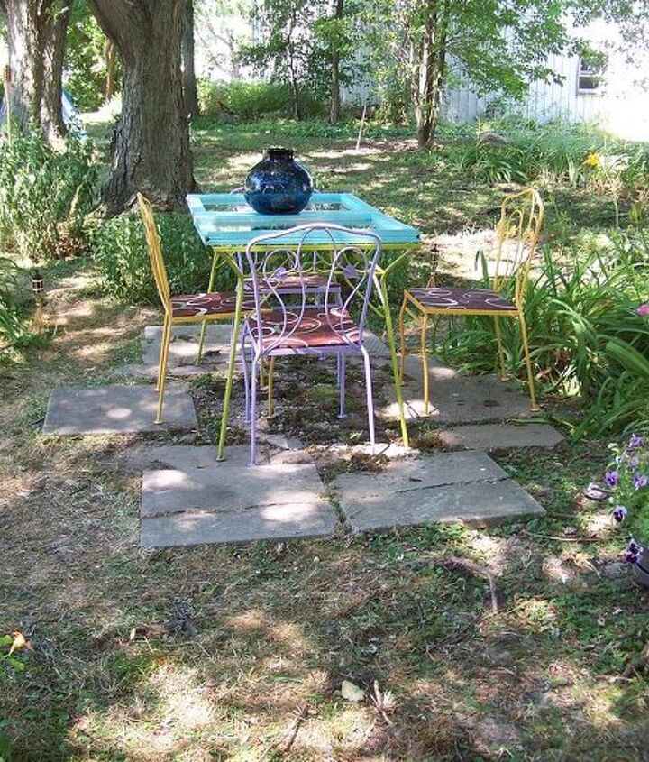 our backyard getaway, outdoor furniture, outdoor living, painted furniture, repurposing upcycling