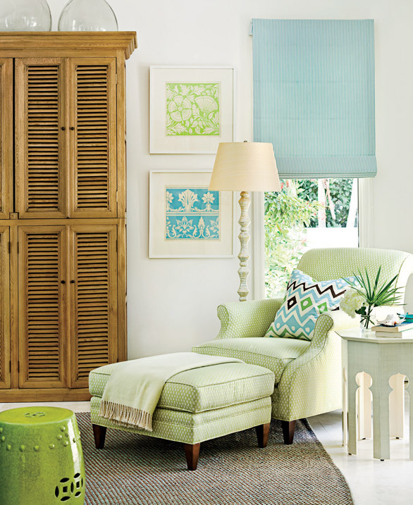 Plush, calm furnishings decorated in blue, green, and white outfit this Florida home. Shop the sitting area > http://wayfair.ly/16OVdEp