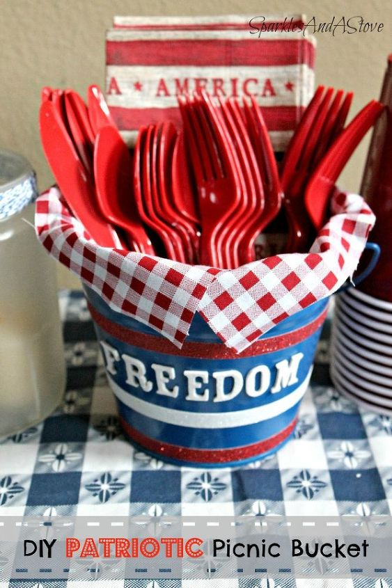 A great way to be patriotic and keep your picnic supplies organized on the table.