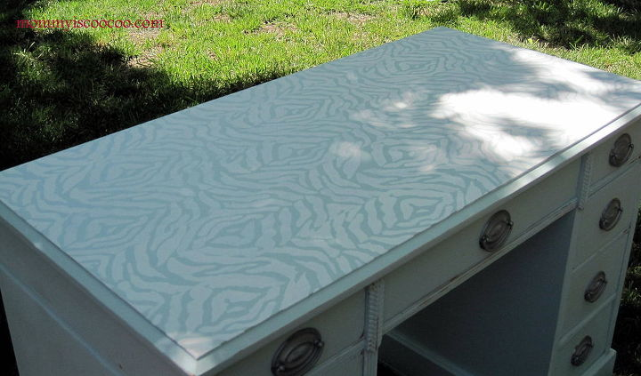 how to paint a zebra stencil on furniture, painted furniture, Zebra Stencil on Wooden Desk