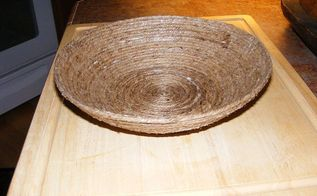 how to make a bowl from jute rope, crafts, decoupage, The Mod Podge will dry clear I did add another coat to the inside of the bowl just to make it stronger