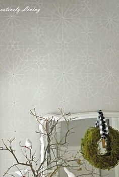 entryway stencil wall from royale design studio with rhinestones, foyer, home decor, painted furniture