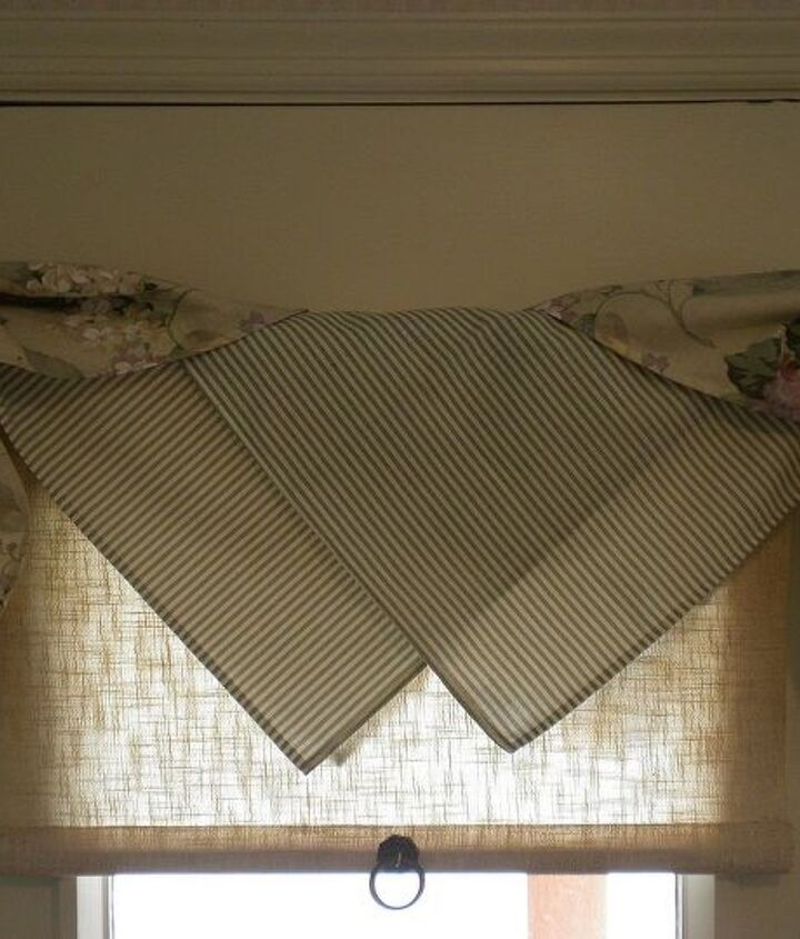 cute easy window treatment using napkins, home decor, repurposing upcycling, reupholster, window treatments, windows