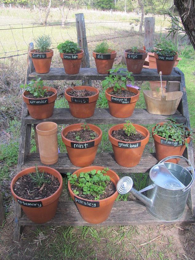 upcycled herb garden, gardening, repurposing upcycling