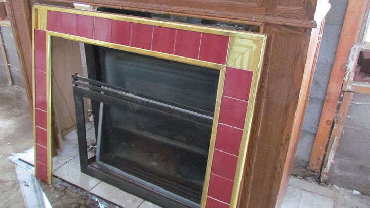 Ugly freestanding fireplace BEFORE