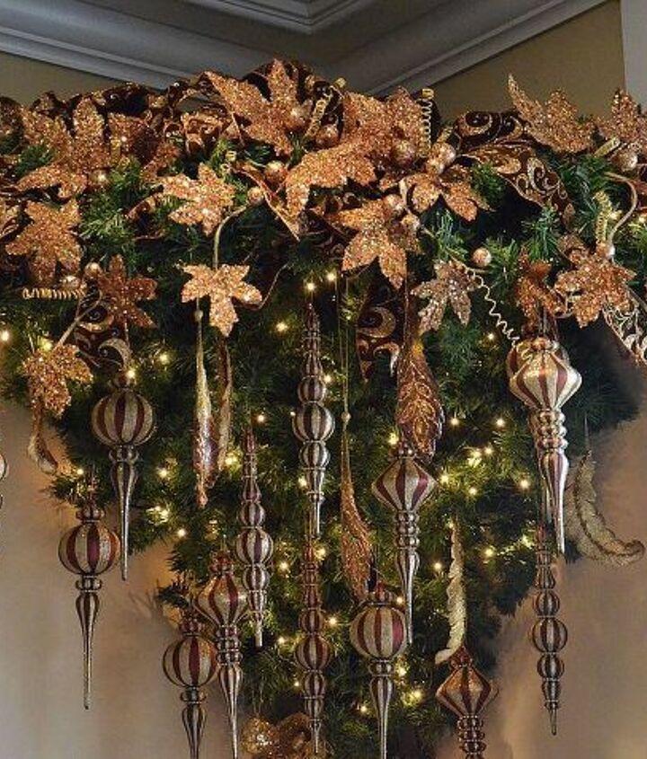 an upside down christmas tree, christmas decorations, seasonal holiday decor