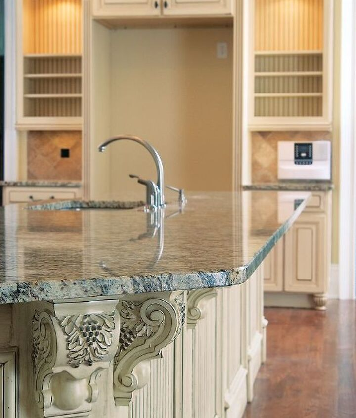 Countertop & Cabinetry Detail in Atlanta Kitchen (These neutrals soften the dramatic island & vent hood) - AK