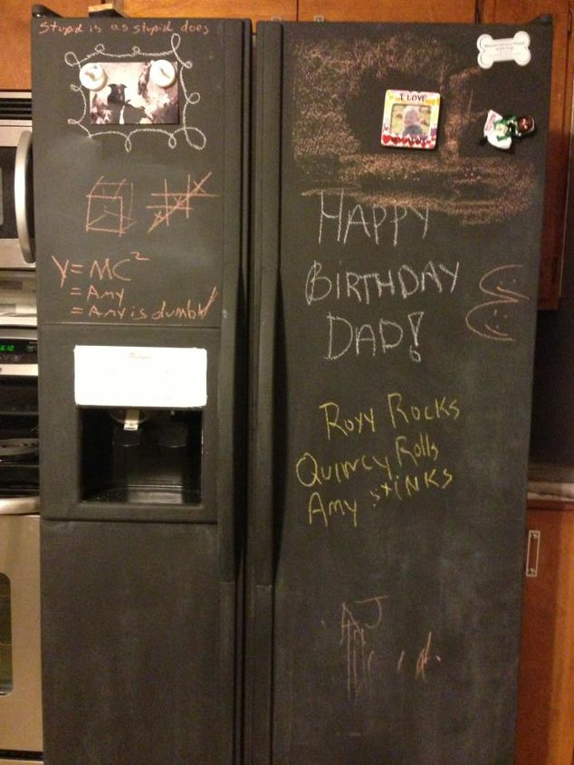 i painted my refrigerator with chalkboard paint, appliances, chalk paint, chalkboard paint, painting, This one is more of what the finish looks like after it s primed