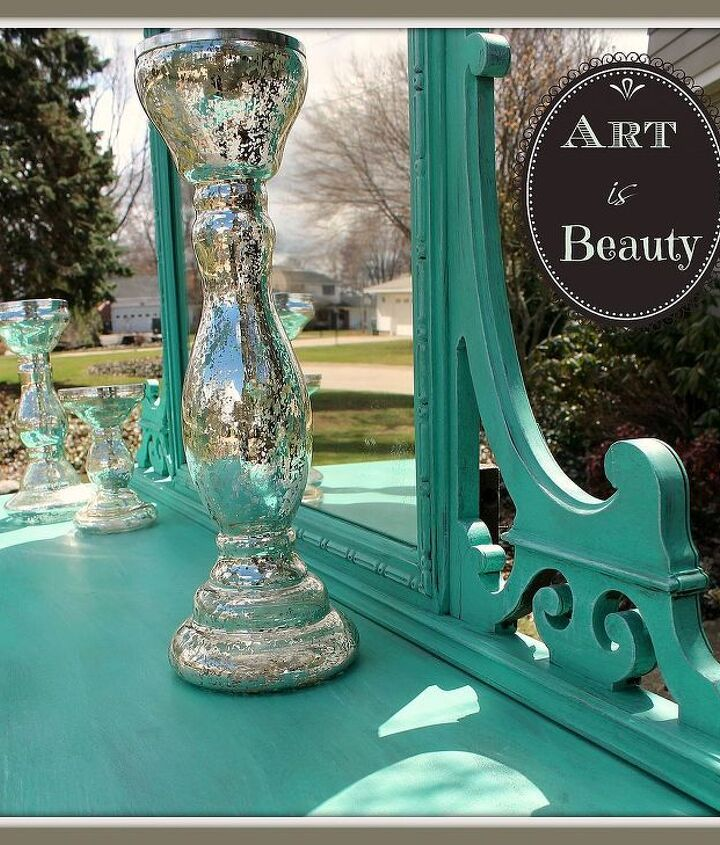 from beast to beauty custom sea glass colored antique dresser redo, painted furniture