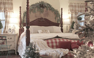 my french cottage bedroom decked out for christmas 2011, bedroom ideas, christmas decorations, seasonal holiday decor