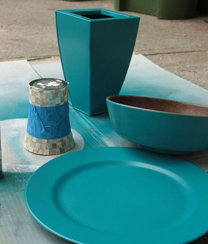 I used her color, teal, throughout the house, and it was super easy. I collected items from the thrift store and gave them a coat of spray paint to unify them.