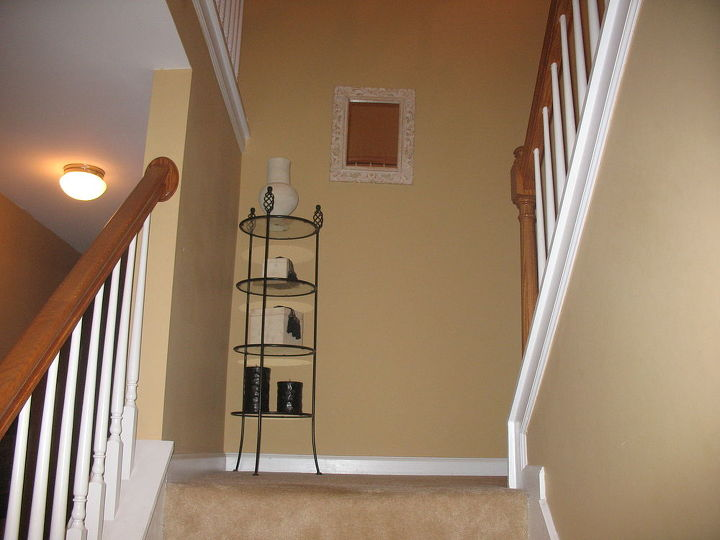 q help with board and batten, stairs, woodworking projects, Then board and batten will go on the left of this wall and on the wall straight ahead