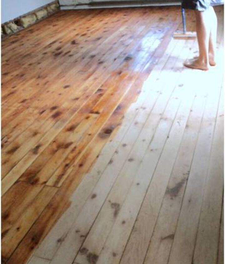 Conditioning the floor before applying the stain.