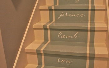 Stairway to heaven. We removed our old stained carpet and updated with paint, pattern and typography.