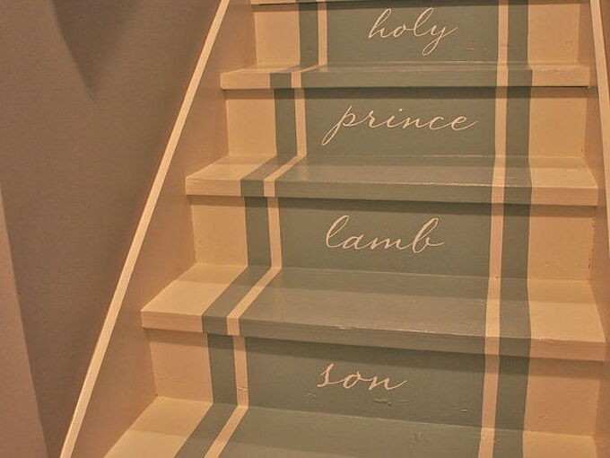stairway to heaven we removed our old stained carpet and updated with paint pattern, home decor, painting, stairs, Finished stairs