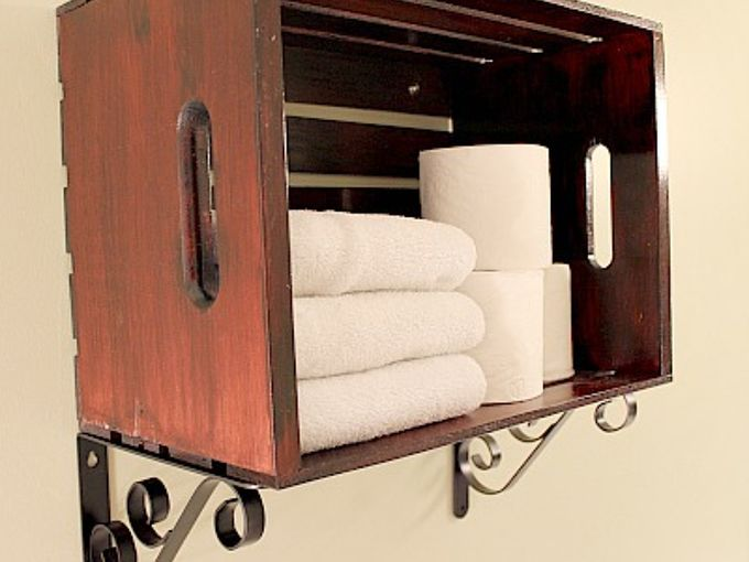 custom over the toilet storage solutions with pine crates, bathroom ideas, shelving ideas, storage ideas, woodworking projects, Store towels toilet paper and anything else you need