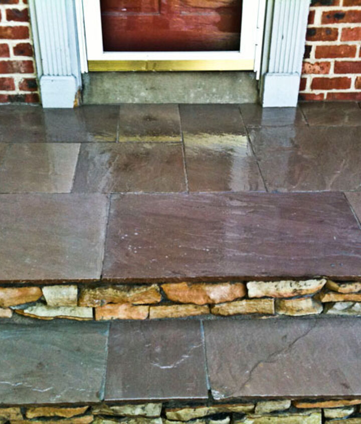 natural stone veneer tops the new front entrance