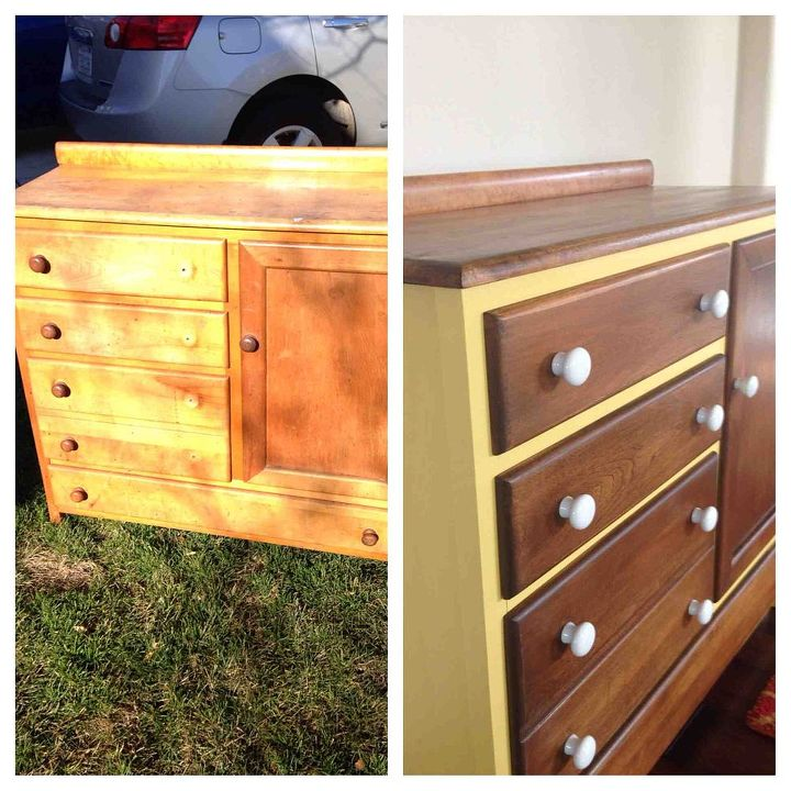 dresser refinished and painted and repurposed into a changing table, painted furniture, Before and After