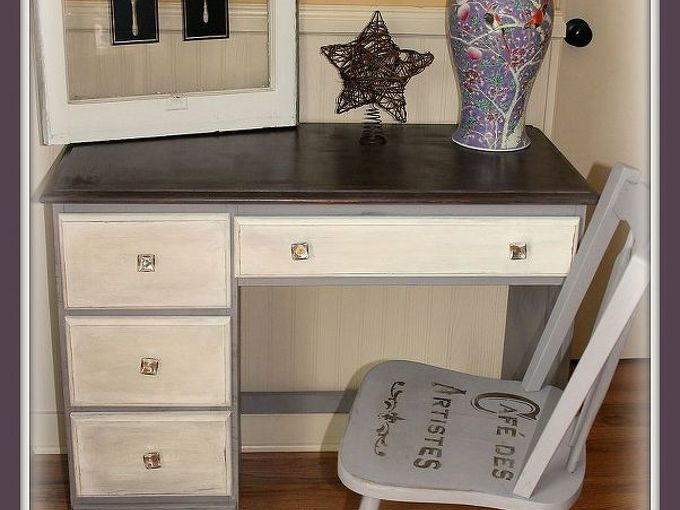 roadside rescue desk and chair makeover, home decor, painted furniture