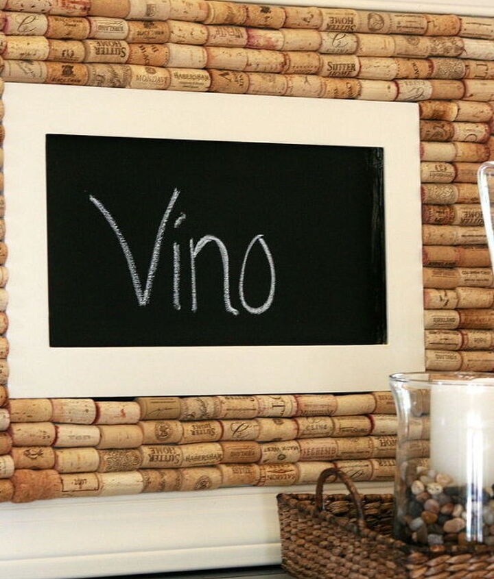 Chalkboard trimmed out surrounded by wine corks
