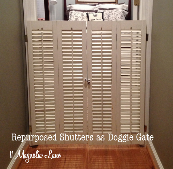 dog gate from vintage plantation shutters, repurposing upcycling, The finished project