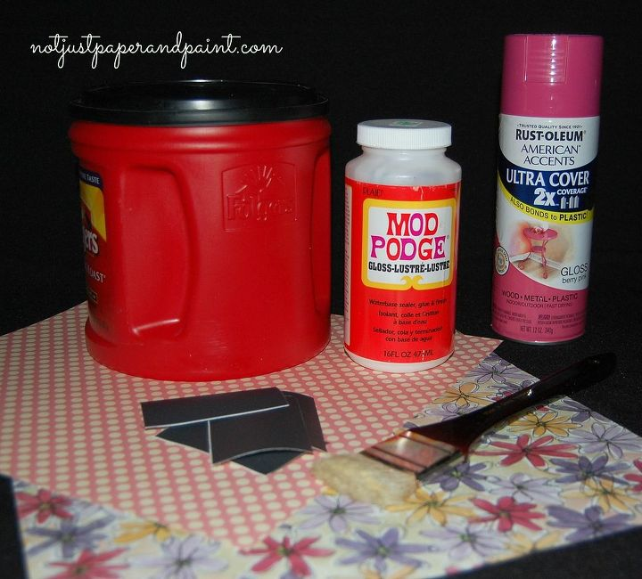 coffee canisters spray paint for plastic scrapbook paper Mod Podge foam or paint brush chalkboard labels  Using the spray paint, give it 2 good coats, following manufactures directions on paint can. The lids could also be painted to ma