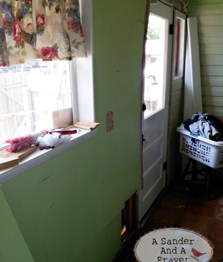 Lime green paint and paneling.  These pictures are mid-reno