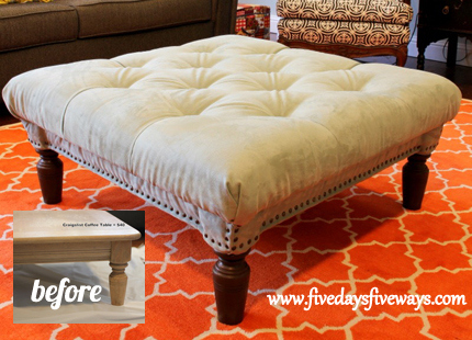 diy tufted ottoman, painted furniture, repurposing upcycling, DIY tufted ottoman from an old coffee table