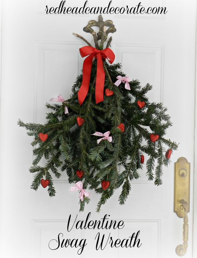 recycled christmas tree into valentine swag wreath, crafts, repurposing upcycling, seasonal holiday decor, valentines day ideas, wreaths, 2014 vwesion