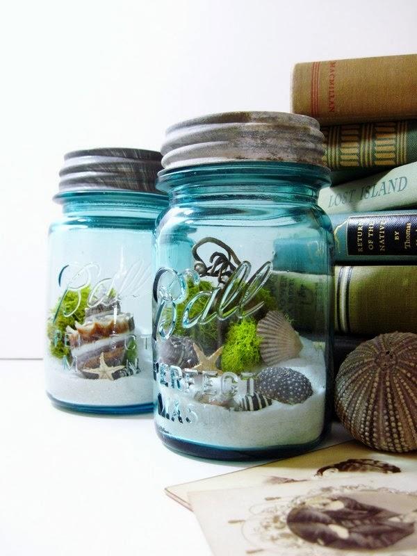 3. Mason Jar Aquarium: Keep the thought of summer closer with his mason jar aquarium.