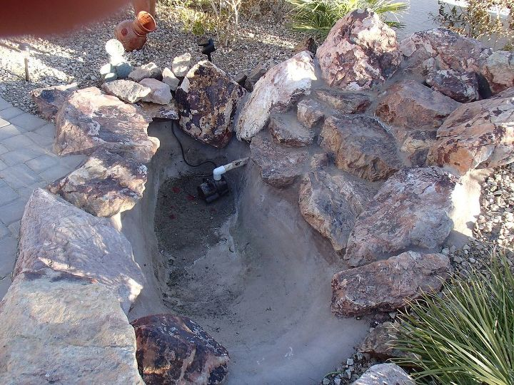 converting pond to pondless, outdoor living, ponds water features, Before concrete bowl