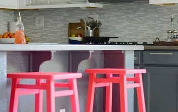 kitchen barstool revamp, painted furniture, Stools after
