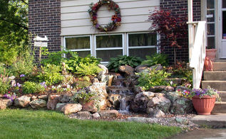 pondless waterfalls for the landscape, gardening, outdoor living, ponds water features, A melodic waterfall greets visitors to the entrance of this suburban home