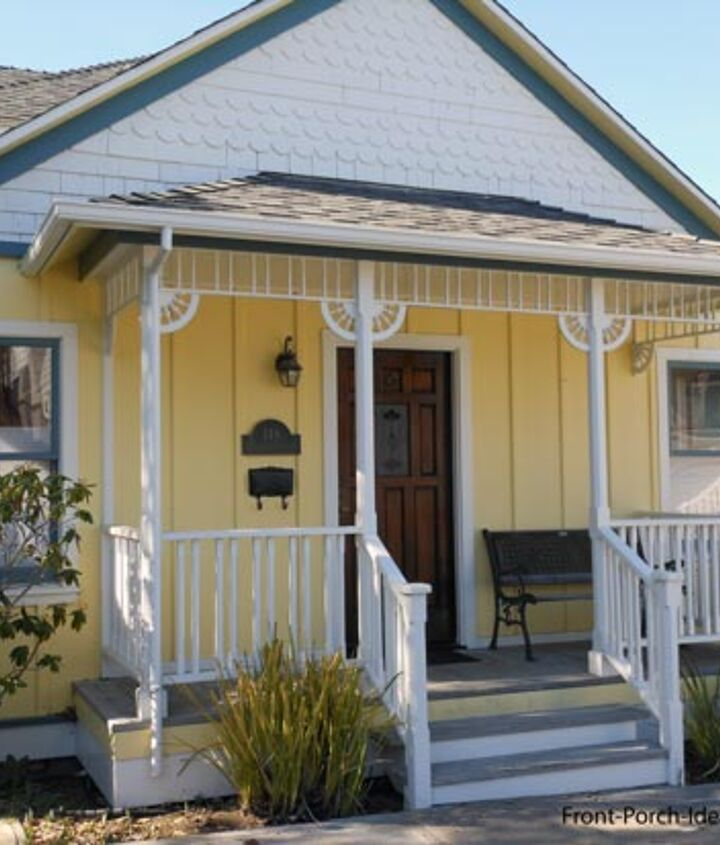 A few simple brackets and trim makes this cute yellow porch super inviting.
