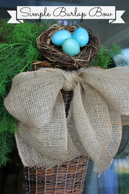 This burlap bow would look great in so many places! I made this one for my front door.
