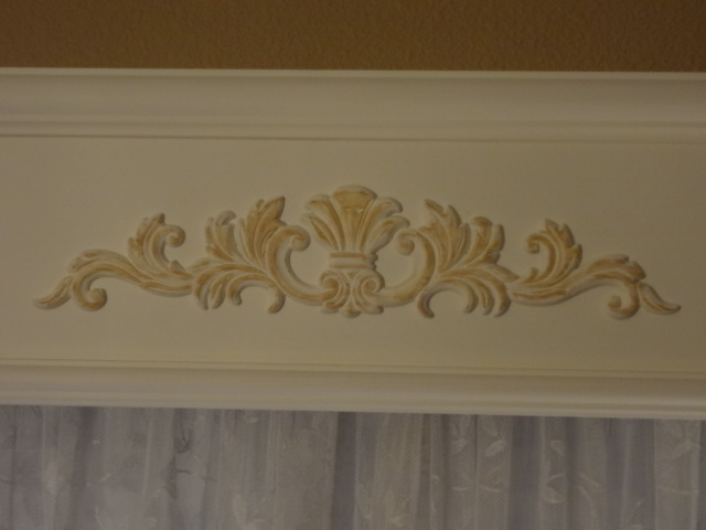Highlighted embellishment with dining room wall color.
