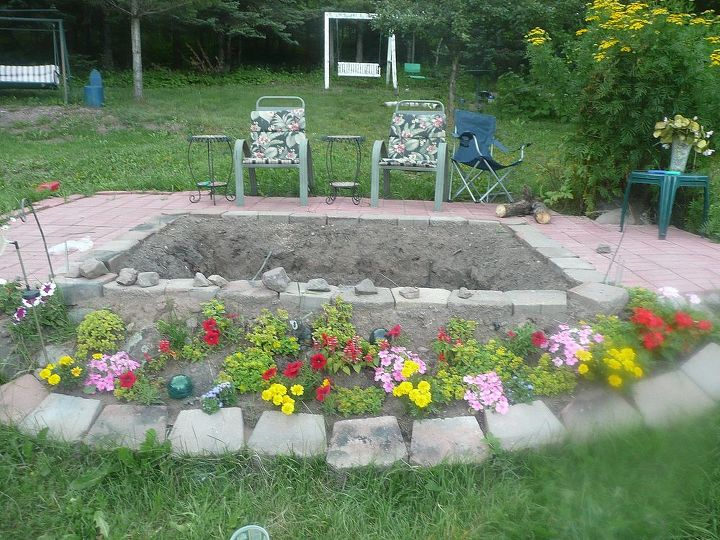 This is our fire pit. We put paving blocks around it